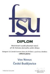 Diplom - Vox Novus - Jihlava - stříbrné pásmo